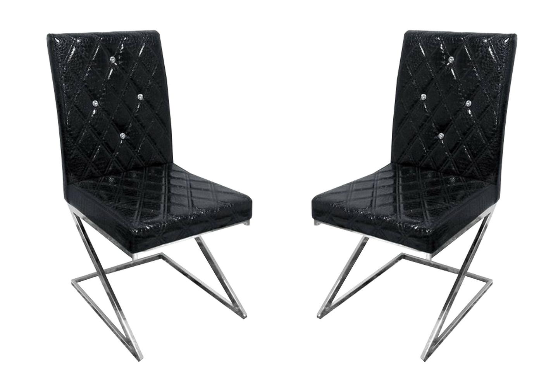 Chaises chromé croco noir AVA.1