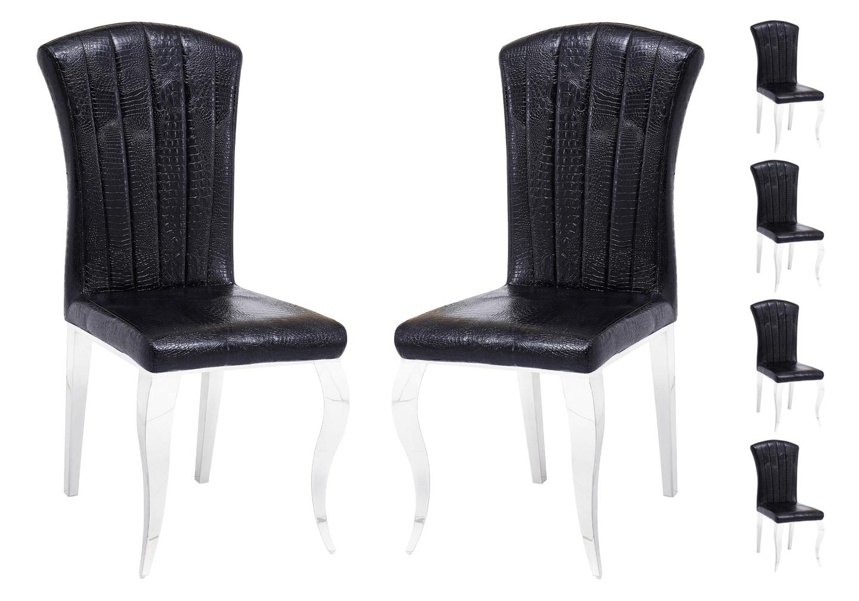 Chaises chromé croco noir ÉNO.1
