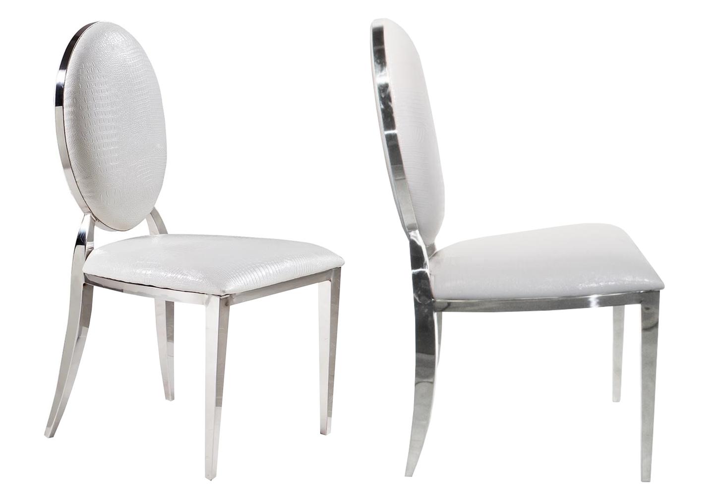 Chaises chromé médaillon croco blanc NEO