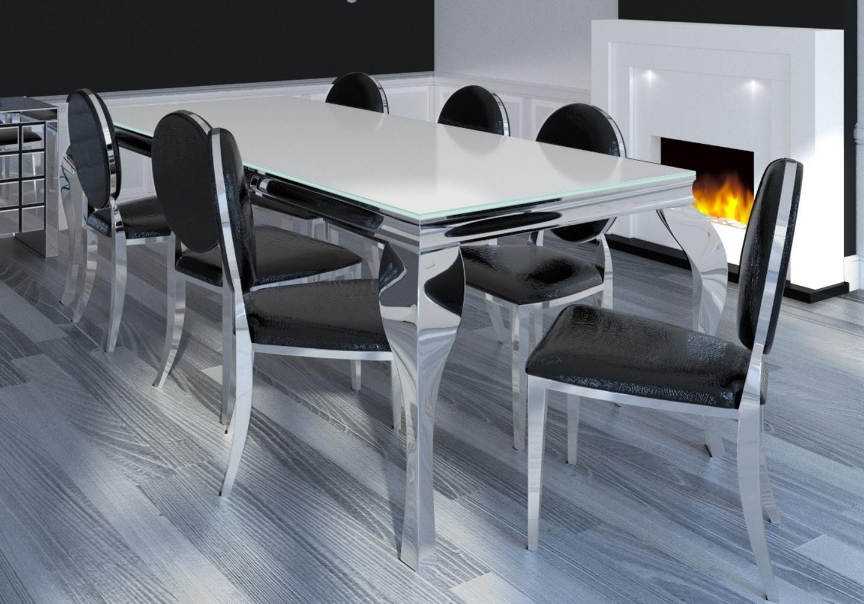 Chaises chromé médaillon croco blanc noir NEO.2