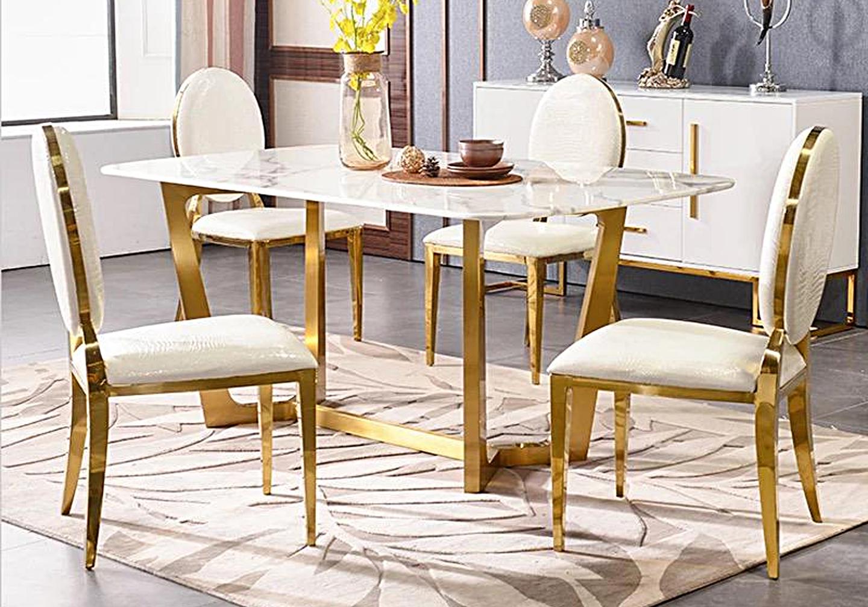 Chaises doré médaillon croco blanc NEO.2