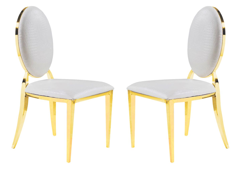 Chaises doré médaillon croco blanc NEO