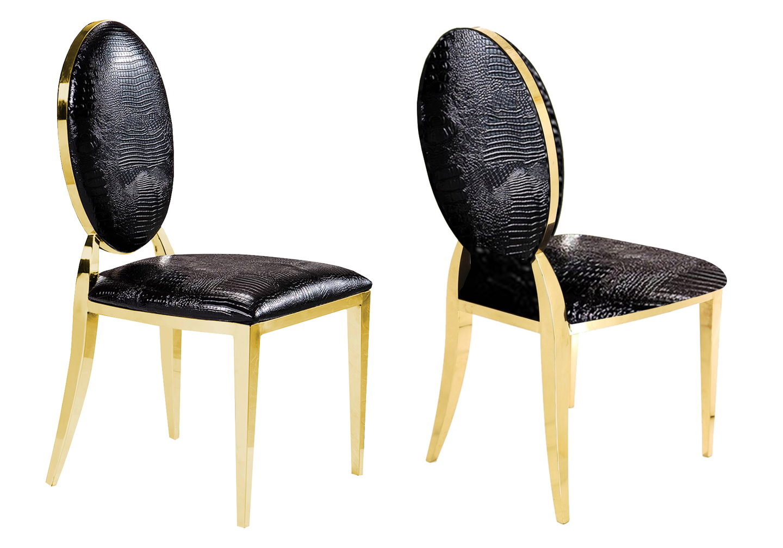 Chaises doré médaillon croco noir NEO