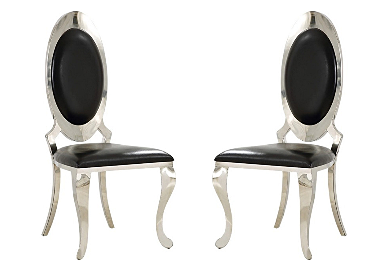 Chaises médaillon chromé noir ÉVI