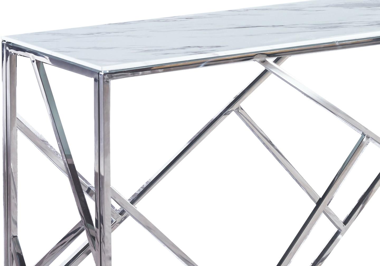 Console chromé marbre blanc ILÉA.1