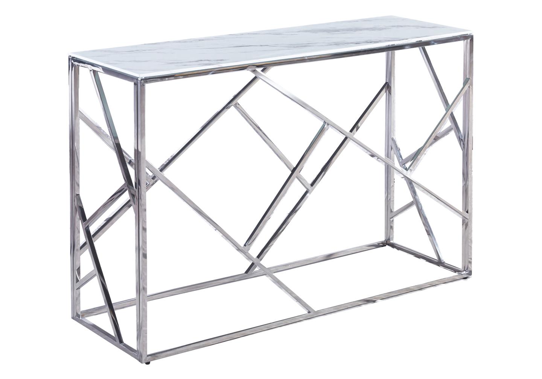 Console chromé marbre blanc ILÉA