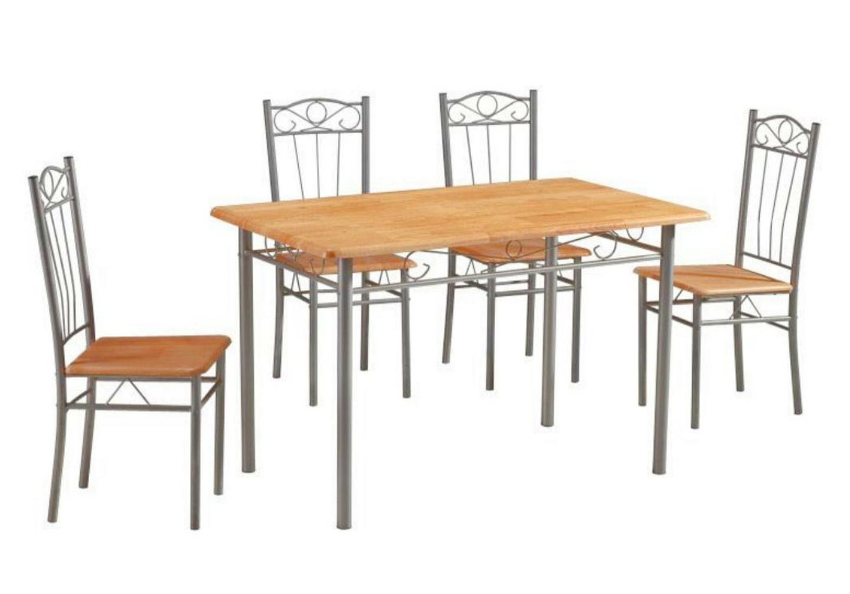 Ensemble table 4 chaises hêtre TED-20