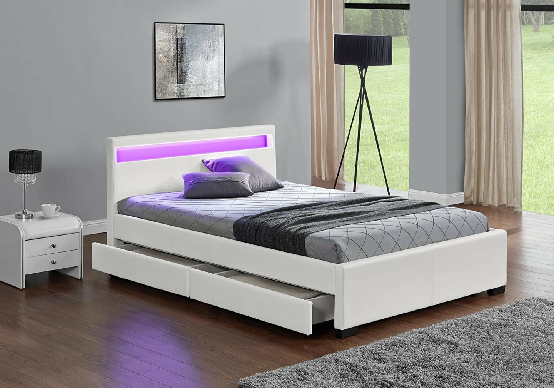 Lit design led tiroirs rangements blanc AVA.1