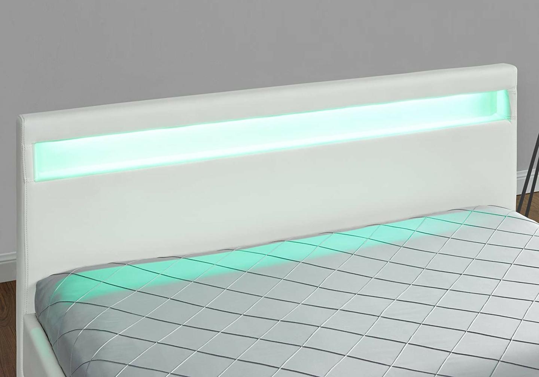Lit design led tiroirs rangements blanc AVA.3