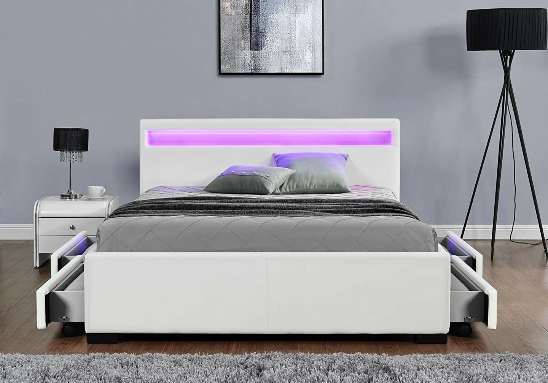 Lit design led tiroirs rangements blanc AVA