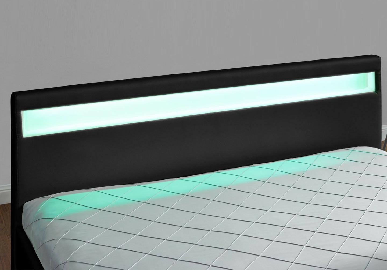 Lit design led tiroirs rangements noir AVA.2