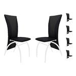 Lot 6 chaises chromé simili noir IVO.1