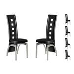 Lot 6 chaises métal simili noir LINE.1