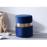 Pouf design doré velours bleu ISY.1