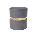 Pouf design doré velours gris ISY