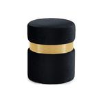 Pouf design doré velours noir ISY