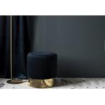 Pouf design doré velours noir LISY.2
