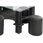 Table basse 6 poufs noir CORA.1