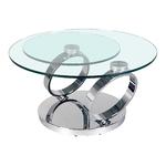 Table basse articulée chromé verre VARIO