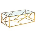 Table basse design doré verre ILÉA