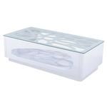 Table basse laqué blanc verre FLO