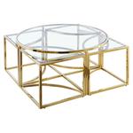 Table basse ronde design doré verre PIO.1