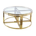 Table basse ronde design doré verre PIO