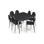 Table carré 4 chaises chromé noir NEO