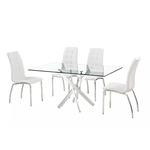 Table chromé 6 chaises blanc DESIGN