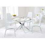 Table chromé marbre 6 chaises blanc DESIGN