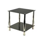 Table d'appoint chromé verre noir HILO