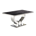Table manger chromé marbre noir NEA