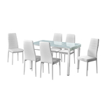 Table manger verre 6 chaises blanc TAO
