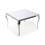 Table repas carré chromé blanc NEO