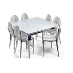Table repas carré chromé marbre blanc NEO