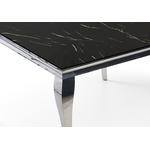 Table repas carré chromé marbre noir NEO-1