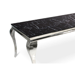 Table repas chromé marbre noir NEO-XL-2