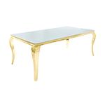 Table repas doré verre blanc NEO-XL