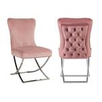 Chaises design capitonné rose ENZO