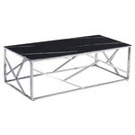Table basse chromé marbre noir ILÉA