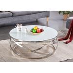 Table basse design chromé blanc EVO.1