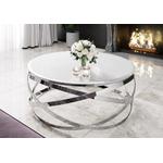Table basse design chromé blanc EVO.2