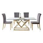 Table repas doré 6 chaises gris LUXOR