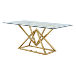 Table repas design doré verre LUXOR