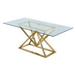 Table repas design doré verre LUXOR.1