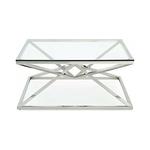 Table basse carré chromé verre LUXOR