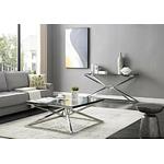 Table basse carré chromé verre LUXOR.3