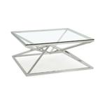 Table basse carré chromé verre LUXOR.1