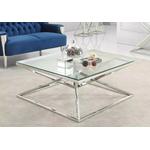 Table basse carré chromé verre LUXOR.40