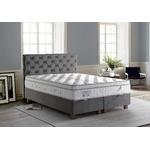 Lit coffre + tête de lit + matelas 140x190 PRINCE-KARYA Gris